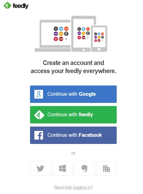Feedly create acount