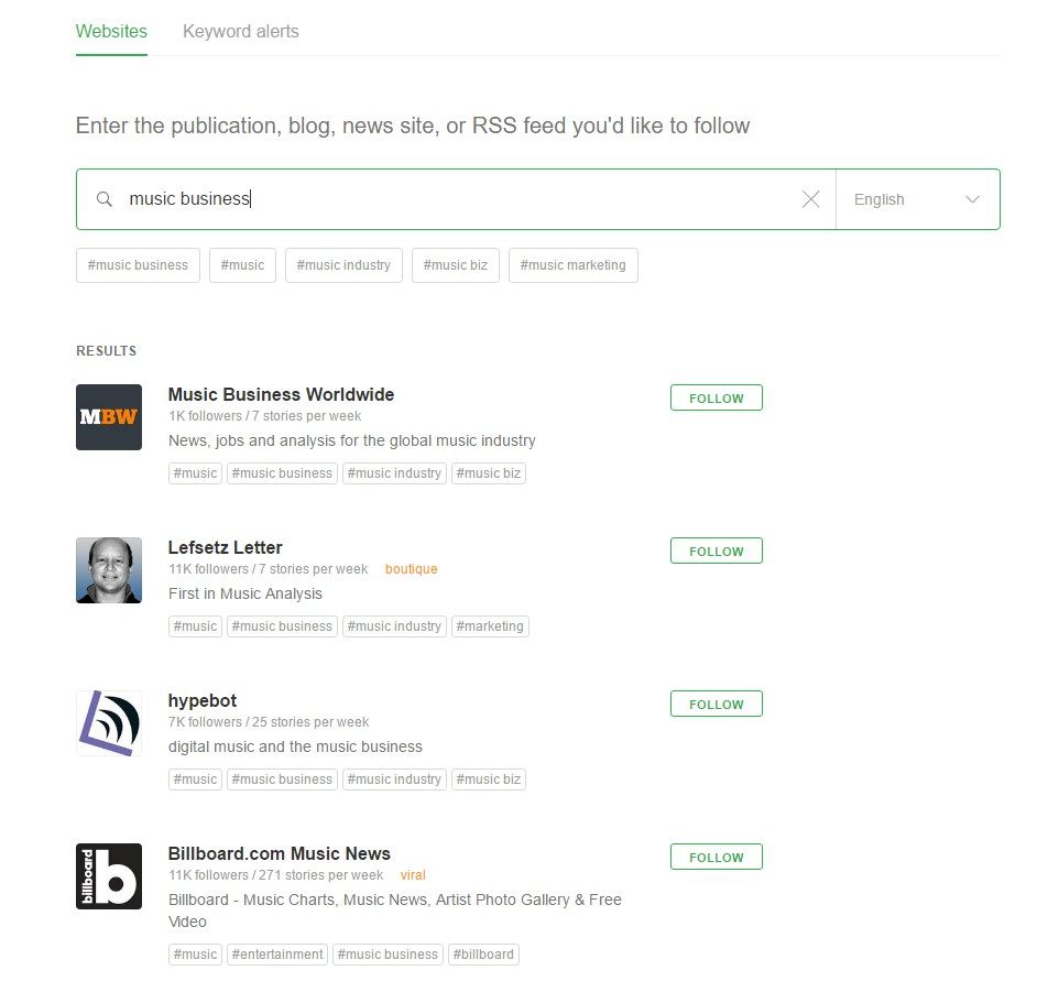 Feedly search